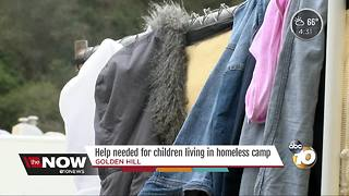 Items needed for kids living in temporary homeless camp - Video