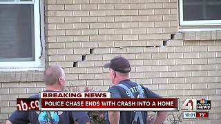 KCPD chase ends when car crashes into house