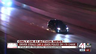 Car stolen from KCPD HQ parking lot leads police on chase - Video