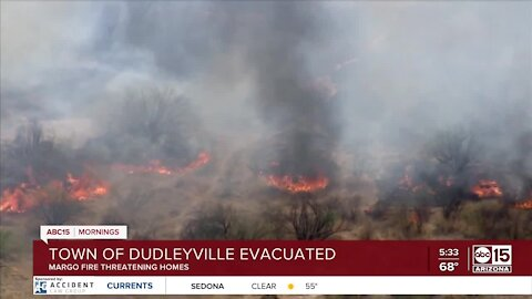 Dudleyville evacuated due to wildfire threatening homes