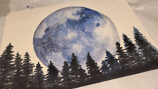 Watercolor moon painting with trees