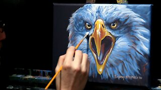 Acrylic Wildlife Painting of a Bald Eagle - Time Lapse - Artist Timothy Stanford