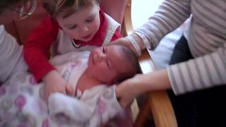Little Boy Greets His New Baby Sister Home