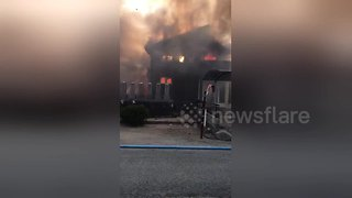 Japanese military helicopter crashes into home - Video