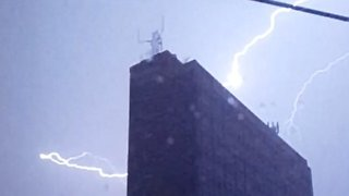 Salford Building Lit Up By Dramatic Lightning Strikes - Video
