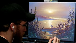Acrylic Landscape Painting of a Misty Morning with Heron - Time Lapse - Artist Timothy Stanford