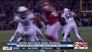 Baker Mayfield reacts to winning Heisman Trophy