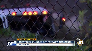 Tow truck plunges off freeway into canal