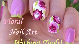 Dry Brush Flower Nail Art - No Tool Nails - Video
