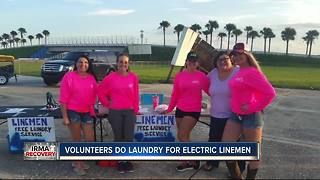 Volunteers do laundry of hard-working linemen - Video