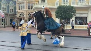 Balloon makes horse lose control at Walt Disney World