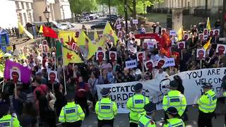 Top shot of protest in London as Turkey's Erdogan visits May - Video