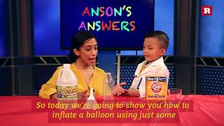 Anson Wong, boy genius, inflates a balloon with baking soda and vinegar | Anson's Answers - Video