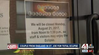 Couple from England travels to St. Joseph to view total solar eclipse - Video