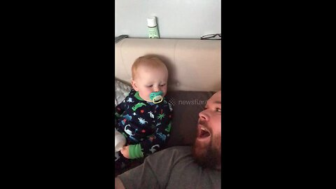 Adorable little boy cries listening to dad's high-pitched laugh