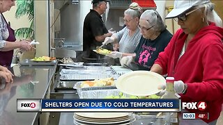 Shelters open due to cold temperatures