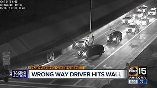 Wrong-way driver crashes into wall on Loop 101 near McDowell - Video