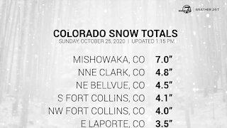 Early afternoon Colorado snowfall totals