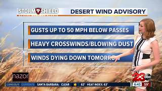 Wind Advisory issued for Kern Desert - Video