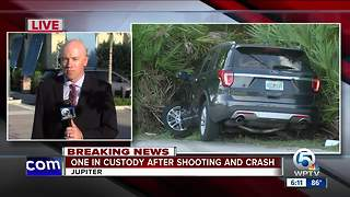 Suspect in custody after shooting and crash