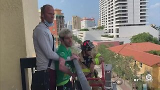 West Palm Beach firefighters surprise man with cerebral palsy