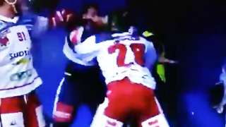 Hockey FIGHT Breaks Out During Intermission Interview