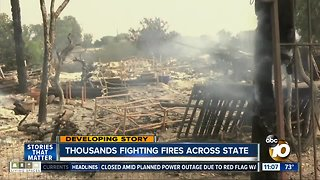 Thousands fighting fires across California