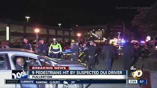 9 pedestrians hit by suspected DUI driver - Video