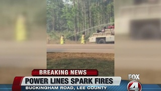Buckingham power lines go down and spark fire - Video
