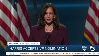 Harris accepts VP nomination
