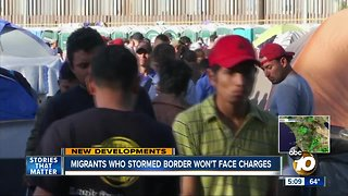 Migrants who stormed border won't face charges