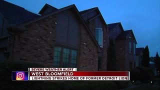 Former Detroit Lion Luther Blue's West Bloomfield home struck by lightning - Video