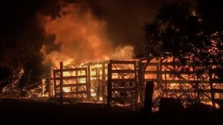 San Jose Firefighters Work to Contain Brush Fire that Destroyed Barn in Almaden Hills - Video