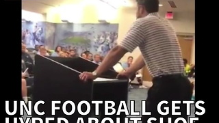 UNC Football Gets Hyped About Shoe Announcement - Video