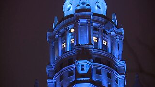Terminal Tower goes blue