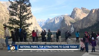 National parks, attractions to close today