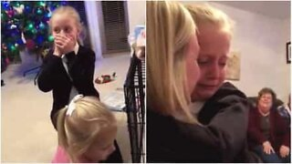 Girls can't believe they received a puppy before Christmas!