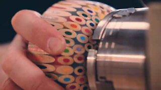 Talented artist makes a bowl out of 198 color pencils