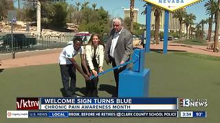 Welcome sign turns blue - Video