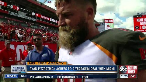 Former Bucs quarterback Ryan Fitzpatrick agrees to terms on a 2-year contract with Miami Dolphins