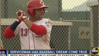 Serviceman has baseball dream come true thanks to Cincinnati Reds - Video