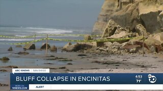 Bluff failure along Encinitas beach, a year after deadly collapse