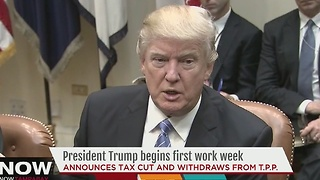 President Trump begins first work week - Video