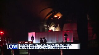 Crews battle overnight house fire near Loxahatchee