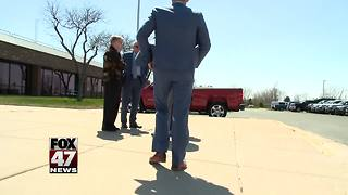 Former MSU President at Michigan State Police headquarters - Video