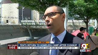 Tents return to Third Street homeless camp after cleanup - Video