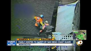 Family hoisted to safety by San Diego Coast Guard - Video