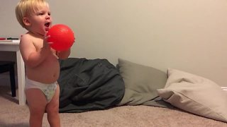Baby displays amazing catching skills