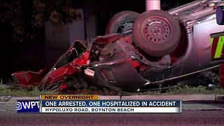1 arrested, 1 hospitalized after Boynton Beach crash