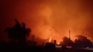 Bus Passes by Flames as Wildfire Scorches Biguglia in Southeast France - Video